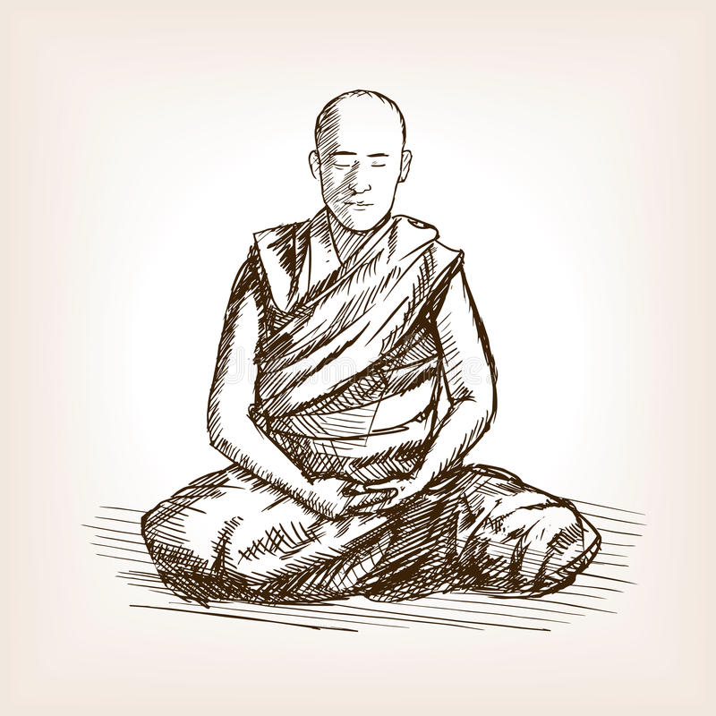 Den buddistiska munken skissar stilvektorillustrationen vektor illustrationer