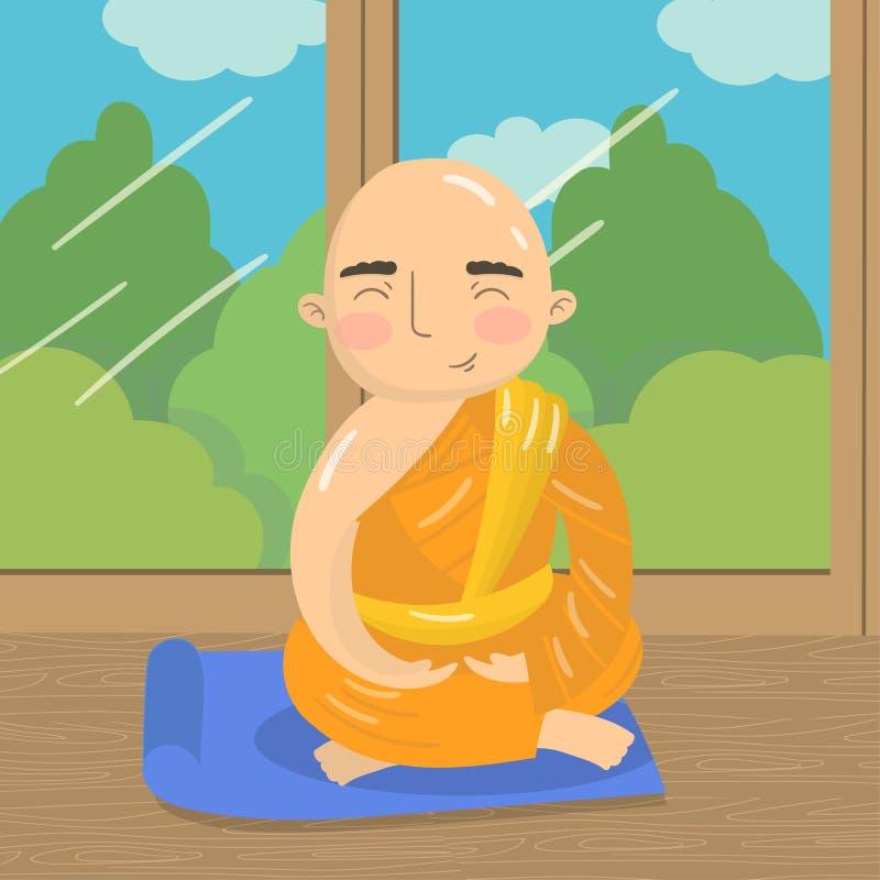 Den buddistiska munken som mediterar i lotusblommaposition, praktiserande yoga i padmasanaen, poserar på bakgrunden av fönstret m vektor illustrationer
