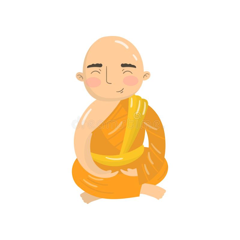 Den buddistiska munken som mediterar i lotusblommaposition, praktiserande yoga i padmasanaen, poserar tecknad filmvektorillustrat vektor illustrationer