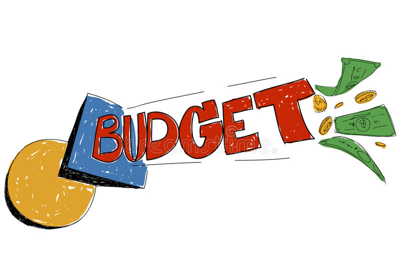 Den budget- bankrörelset uppta som omkostnad planläggningsbegrepp stock illustrationer