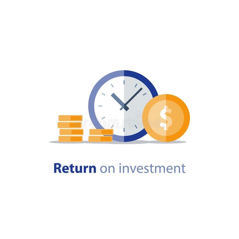 Den budget- planläggningen, tid är pengar, uppta som omkostnad begreppet, redovisningsrapporten, inkomsttillväxt, intäktförhöjnin royaltyfri illustrationer