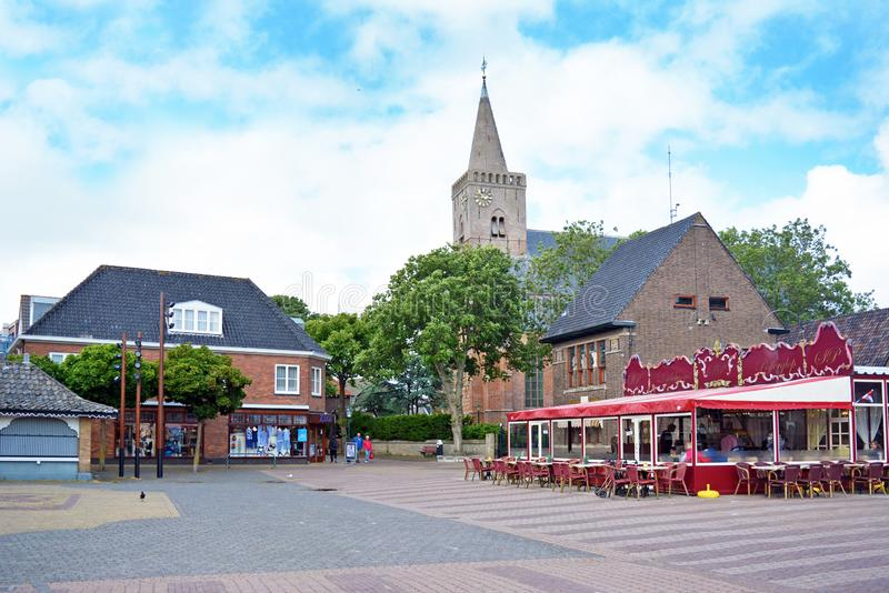 Square in city center with shops and curch royalty free stock image