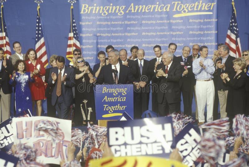 Den Bush/Cheney aktionen samlar i Costa Mesa, CA royaltyfri fotografi