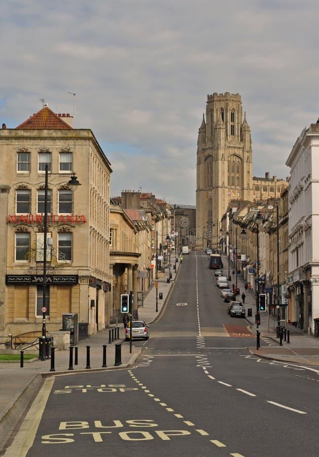 Den byggande delen för Willsminnesmärke av universitetet av Bristol upptill av Park gatan royaltyfri bild