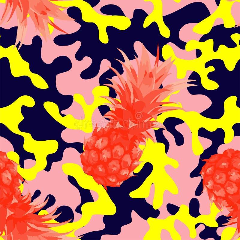 Den Camo militären i rosa färgguling färgar med ananas royaltyfri illustrationer