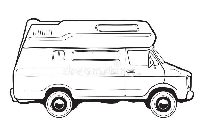 Den campa släpbilen, sid sikten Svartvit vektorillustration royaltyfri illustrationer