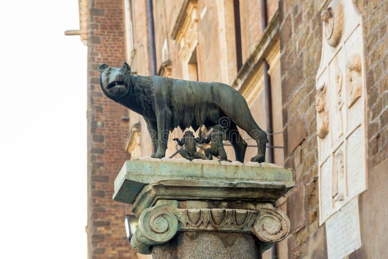 Den Capitoline vargskulpturen som visar en plats från legenden av grunda av Rome royaltyfri fotografi