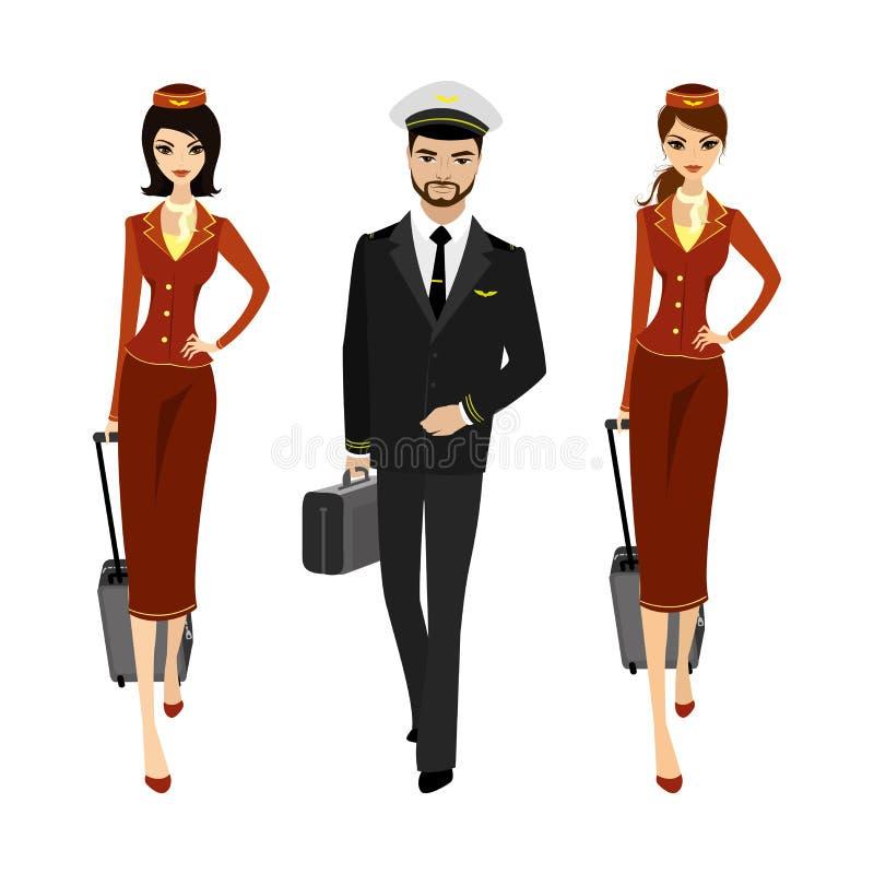 Den Caucasian piloten och två flygvärdinnor i likformign av går stock illustrationer