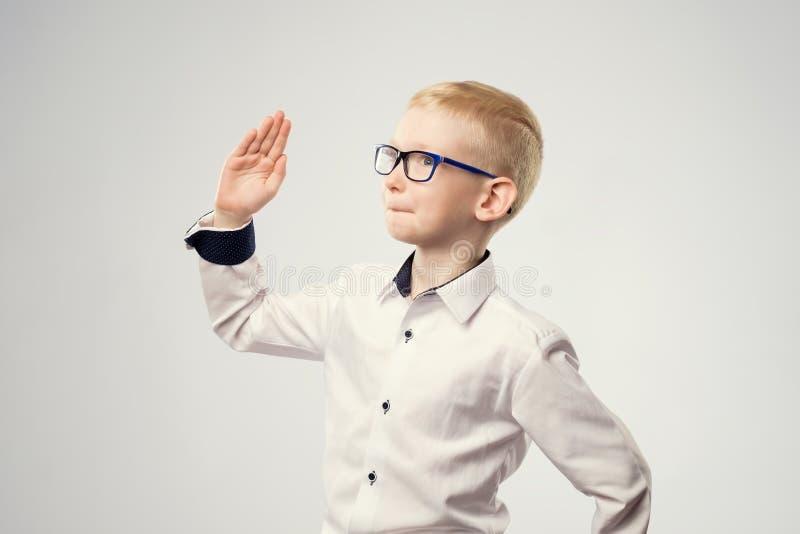 Den Caucasian skolpojken med hans hand lyftte klart att svara en fråga royaltyfria foton