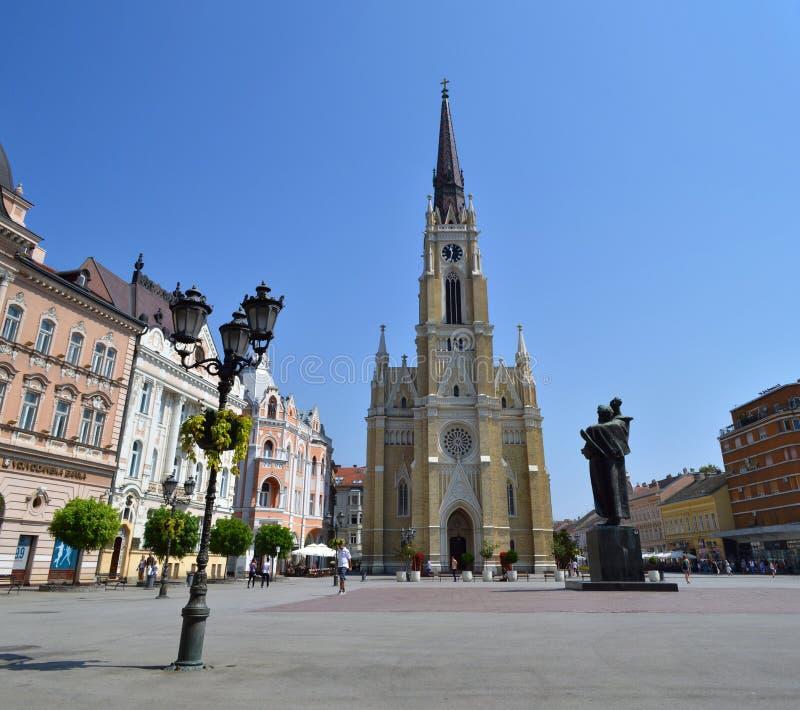Den centrala fyrkanten i Novi Sad arkivbild