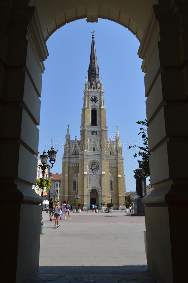 Den centrala fyrkanten i Novi Sad royaltyfria bilder