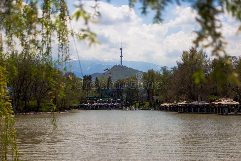 Den centrala staden parkerar, Almaty, Kasakhstan Sikt av sjön och Koken arkivbilder