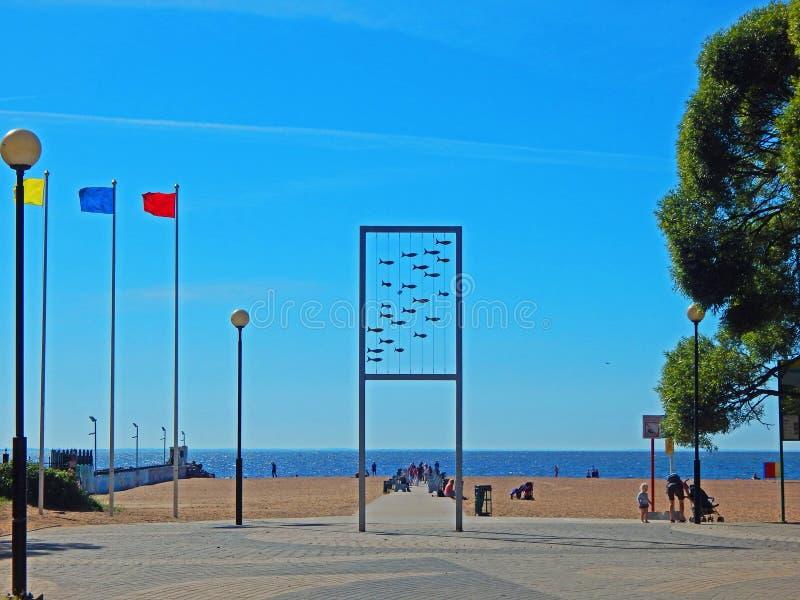 Den centrala stranden i Zelenogorsk, Ryssland arkivfoto