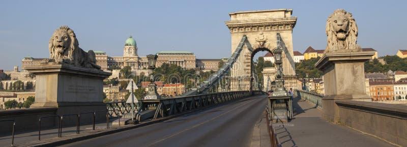 Den Chain bron och Buda Castle i Budapest arkivfoto