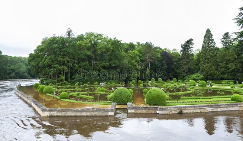 Den Chenonceau slotten parkerar royaltyfria foton