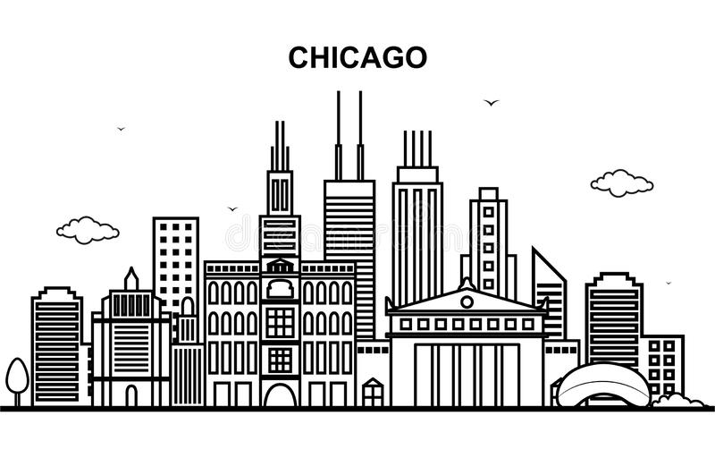 Den Chicago staden turnerar Cityscapehorisontlinjen översiktsillustration royaltyfri illustrationer