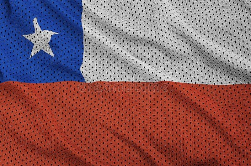 Den Chile flaggan skrivev ut på ett tyg för ingrepp för polyesternylonsportswear w arkivfoto