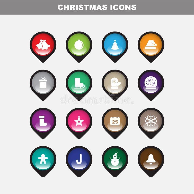 Den Chirstmas symbolen ställde in med Fullcolor royaltyfri illustrationer