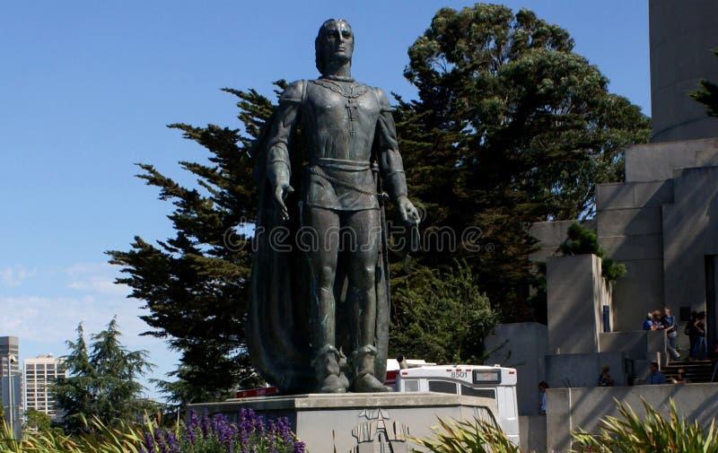 Den Christopher Columbus statyn i banbrytare parkerar, SFO, Kalifornien royaltyfri bild