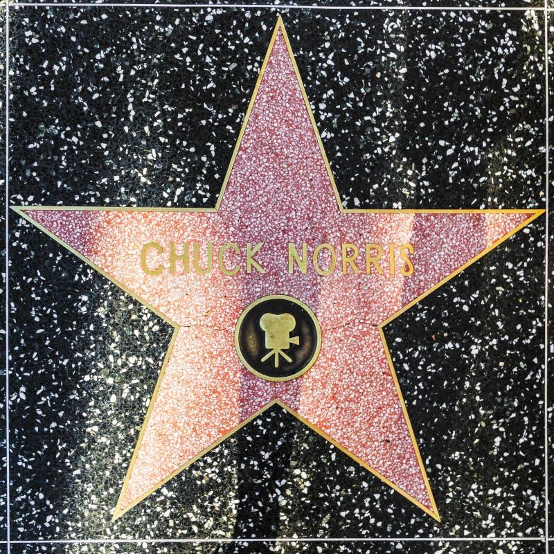 Den Chuck Norris stjärnan på Hollywood går av berömmelse arkivbild