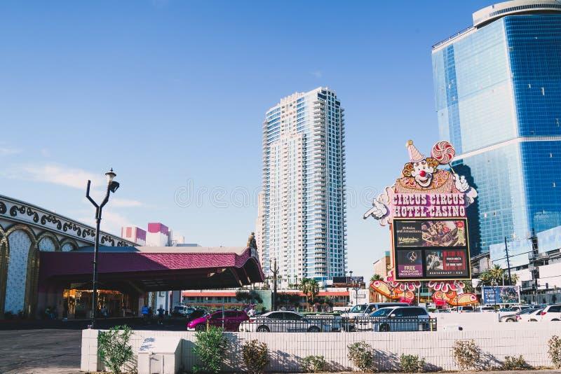 Den cirkuscirkushotellet och kasinot på den Las Vegas remsan, en budget och familj-vänskapsmatch hotell arkivbild