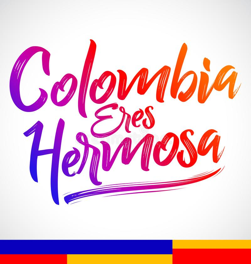 Den Colombia ereshermosaen, Colombia är du härlig spansk text vektor illustrationer