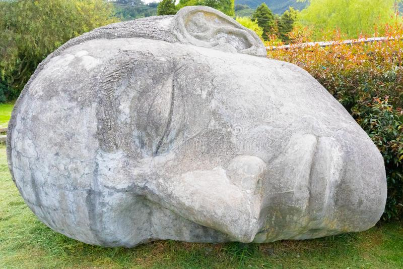 Den Colombia Tabio framsidan sned i stenen som ligger i ängslutet upp royaltyfria bilder