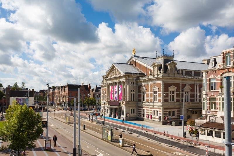 Den Concertgebouw byggnaden, Amsterdam arkivbild