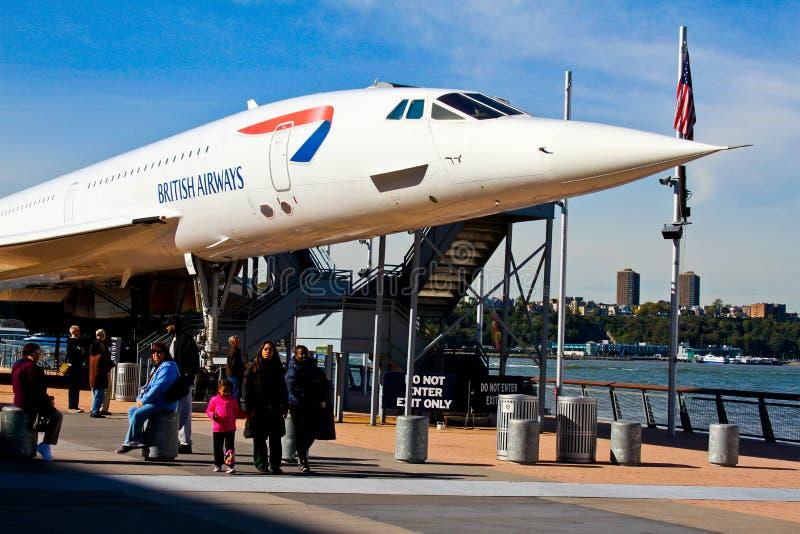 Den Concorde strålen på det Intrepid museet. arkivfoto