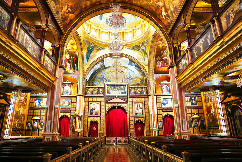 Den Coptic ortodoxa kyrkan inom i Sharm el Sheikh arkivfoto