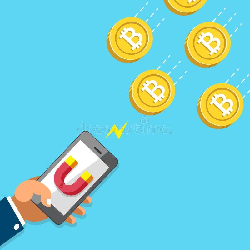 Den Cryptocurrency begreppshanden som använder smartphonen med magnetsymbolen, tilldrar pengarmynt vektor illustrationer