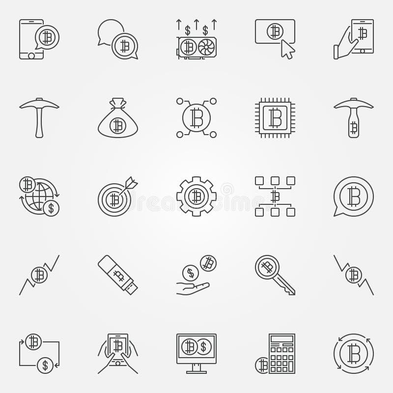 Den Cryptocurrency linjen symboler ställde in - för pengarbegrepp för vektor digitala sig vektor illustrationer