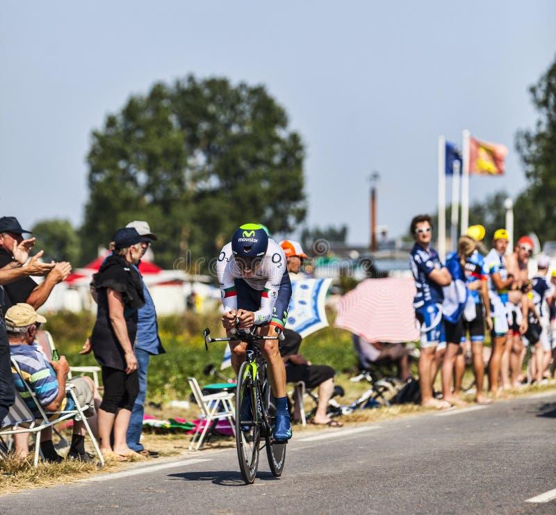 Den cyklistNairo Alexander Quintana Rojas viten Jersey arkivfoton