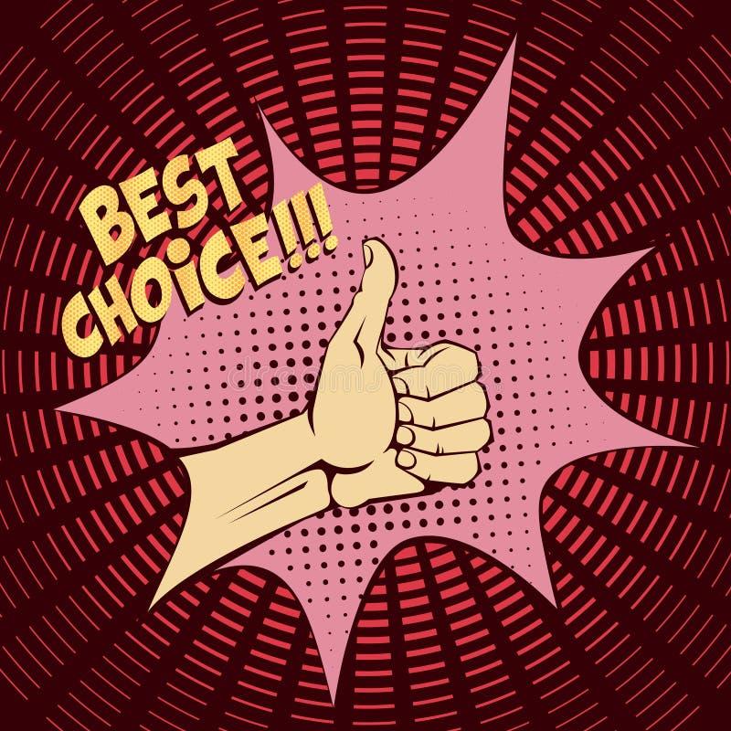 den dåliga falska gesthanden betyder nr Lyftta tummar upp Bilden i stil för popkonst Tappningbild med halvton vektor illustrationer