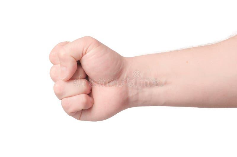 den dåliga falska gesthanden betyder nr Man den grep hårt om näven som är klar att stansa som isoleras på vit, närbilden royaltyfria foton