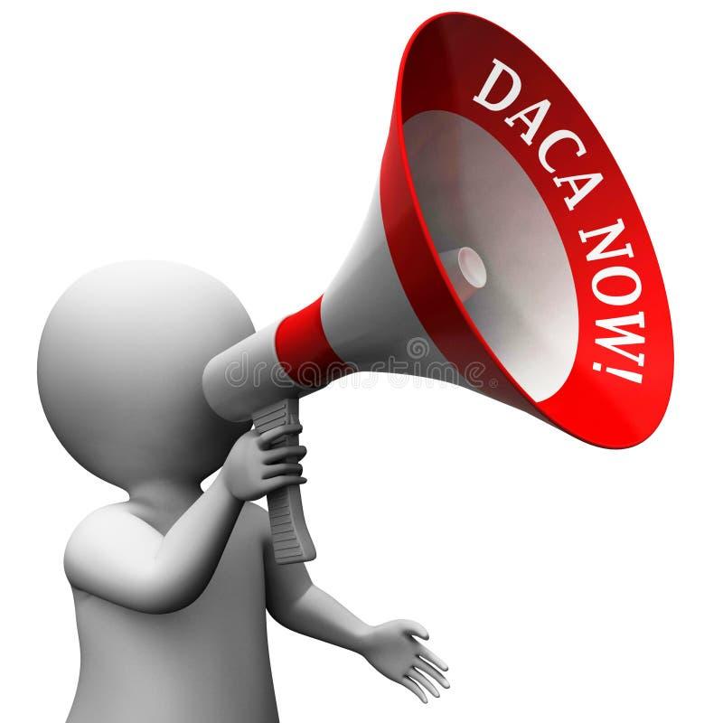 Den Daca protestmegafonen för drömmare handlar vägen till medborgarskap - illustrationen 3d stock illustrationer