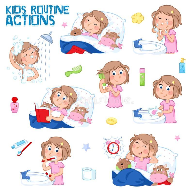 Den dagliga rutinen av lite flickan med ljus - brunt hår - uppsättningen av rutinen för bra morgon åtta och för den bra natten åt stock illustrationer