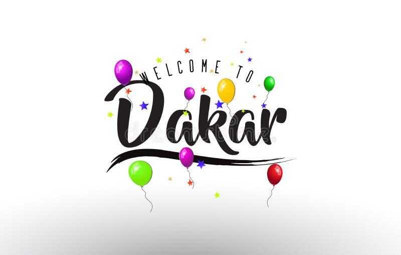 Den Dakar välkomnandet som ska smsas med färgrika ballonger, och stjärnor planlägger stock illustrationer