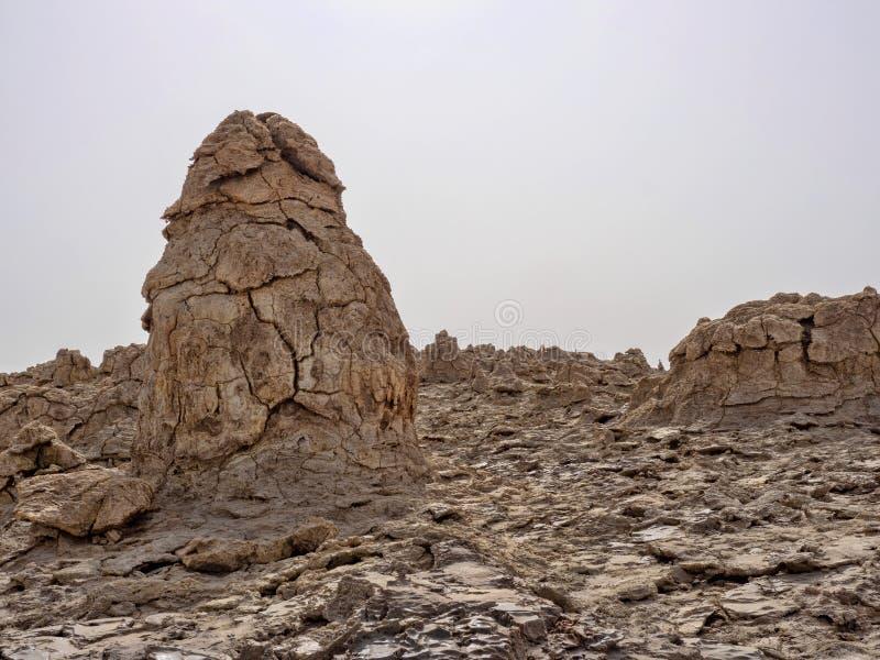 Den Danakil fördjupningen ser som ett landskap på en annan planet ethiopia royaltyfri fotografi