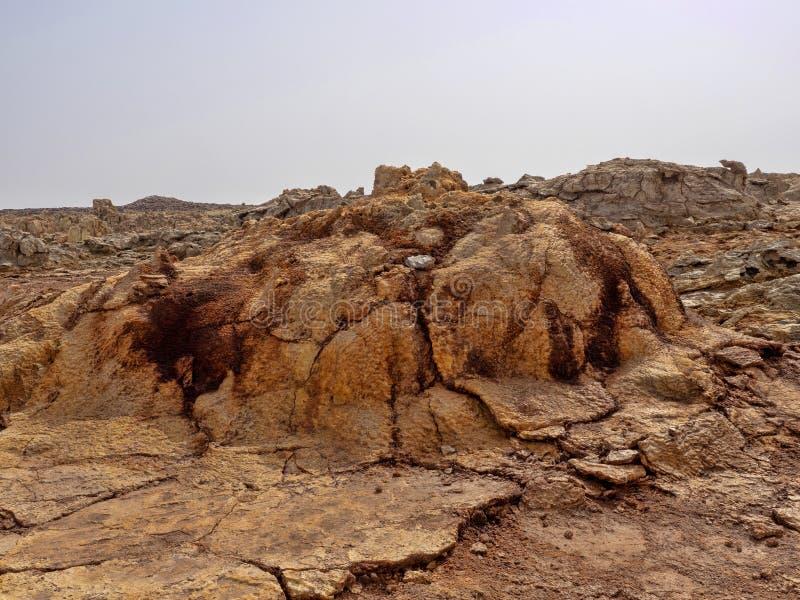 Den Danakil fördjupningen ser som ett landskap på en annan planet ethiopia arkivbild
