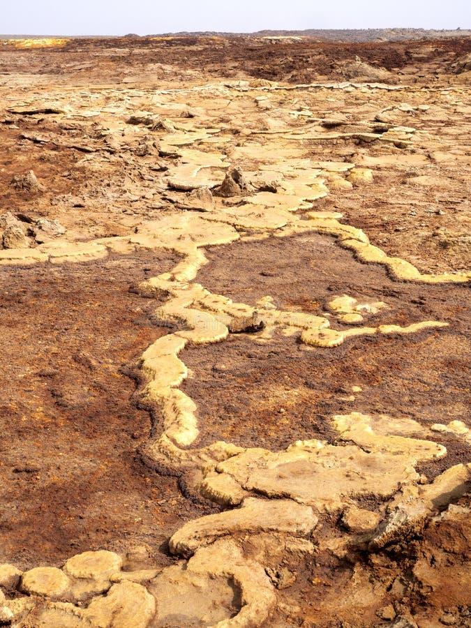 Den Danakil fördjupningen ser som ett landskap på en annan planet ethiopia royaltyfri bild