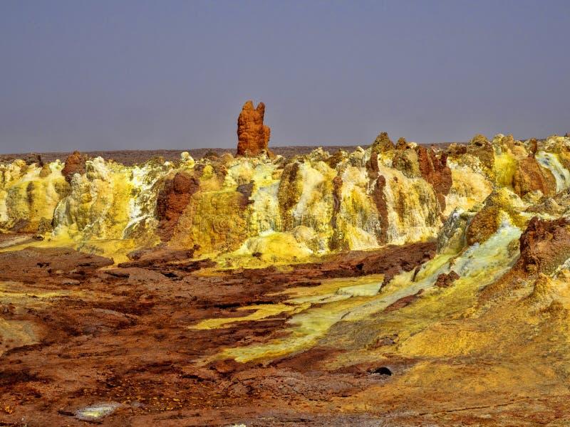 Den Danakil fördjupningen ser som ett landskap på en annan planet ethiopia arkivfoton