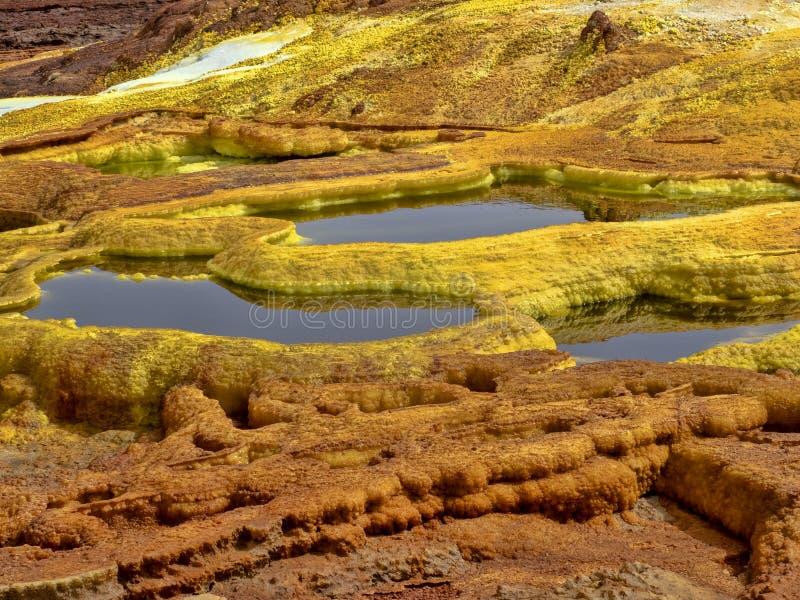 den Danakilian fördjupningen av olika fumaroles, ånga dyker upp och vattenflöden ut ethiopia royaltyfri fotografi