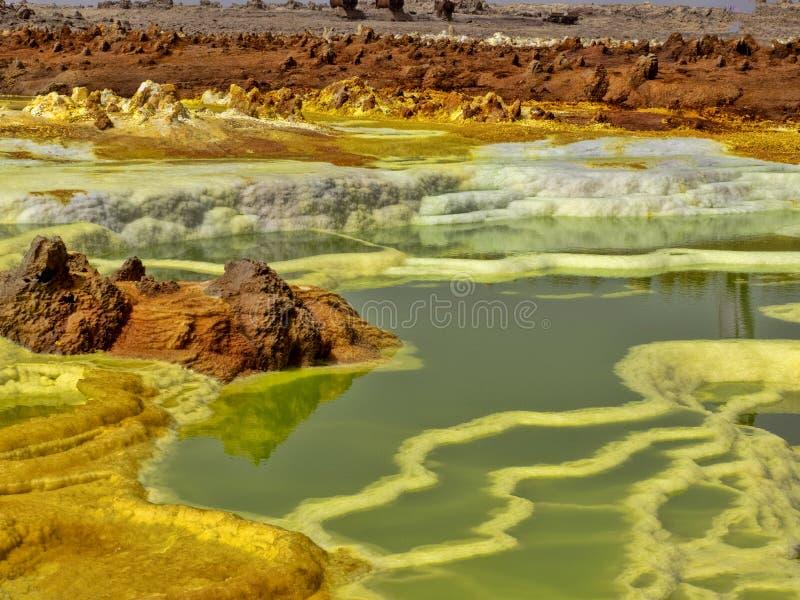 Den Danakilian fördjupningen av olika fumaroles, ånga dyker upp och vattenflöden ut ethiopia arkivbild