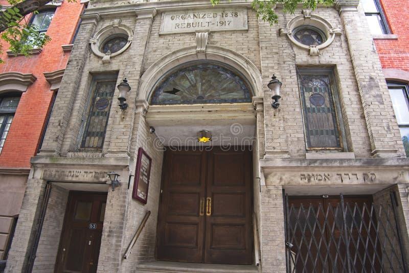 Den Darech Amuno synagogan i den Greenwich byn royaltyfri foto