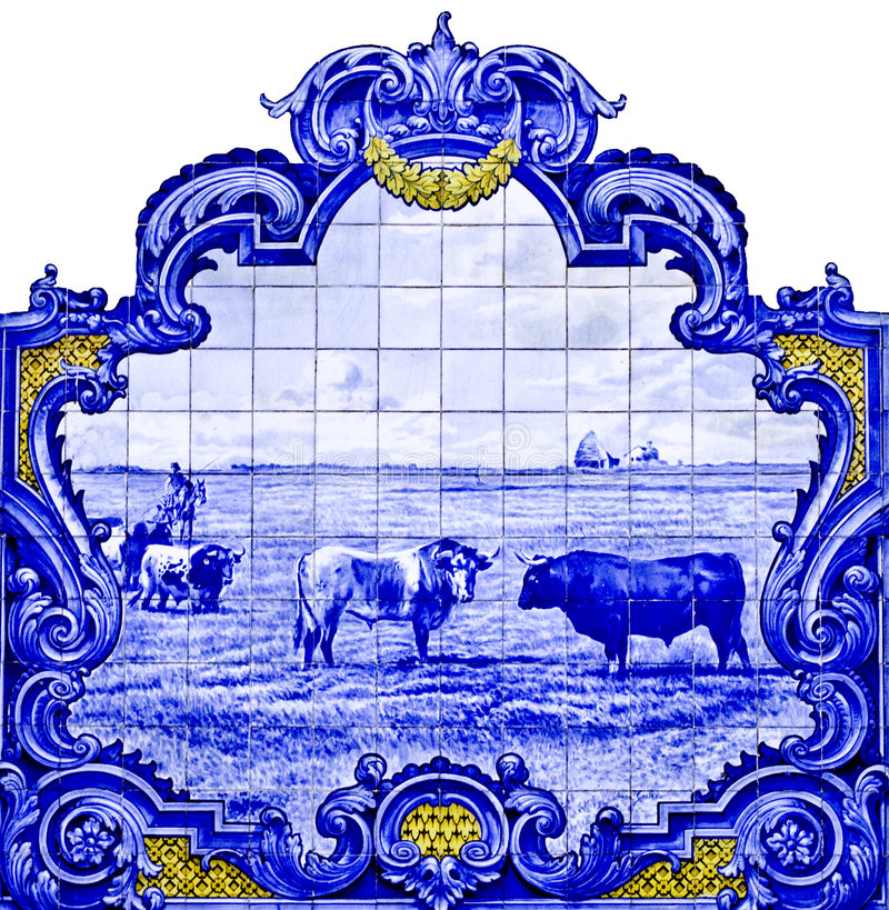 den de franca panelen tiles den vila xiraen royaltyfri bild
