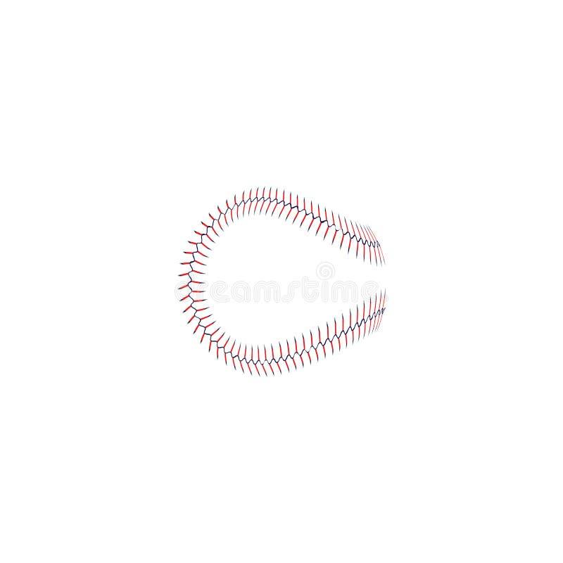 Den dekorativ klassisk röd sömmen eller baseball snör åt den isolerade öglasvektorillustrationen vektor illustrationer