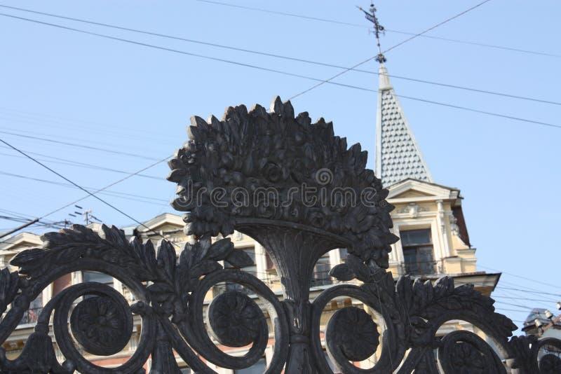 den dekorativa beståndsdelen av parkerar staketet royaltyfri fotografi