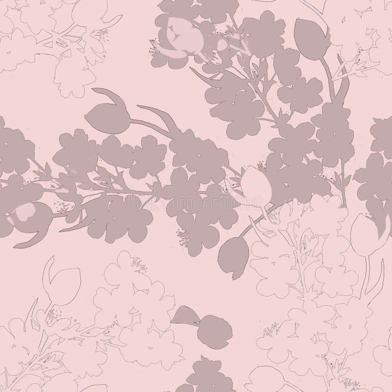 Den dekorativa buketten blommar tulpan med körsbäret seamless modell Rosa version vektor illustrationer