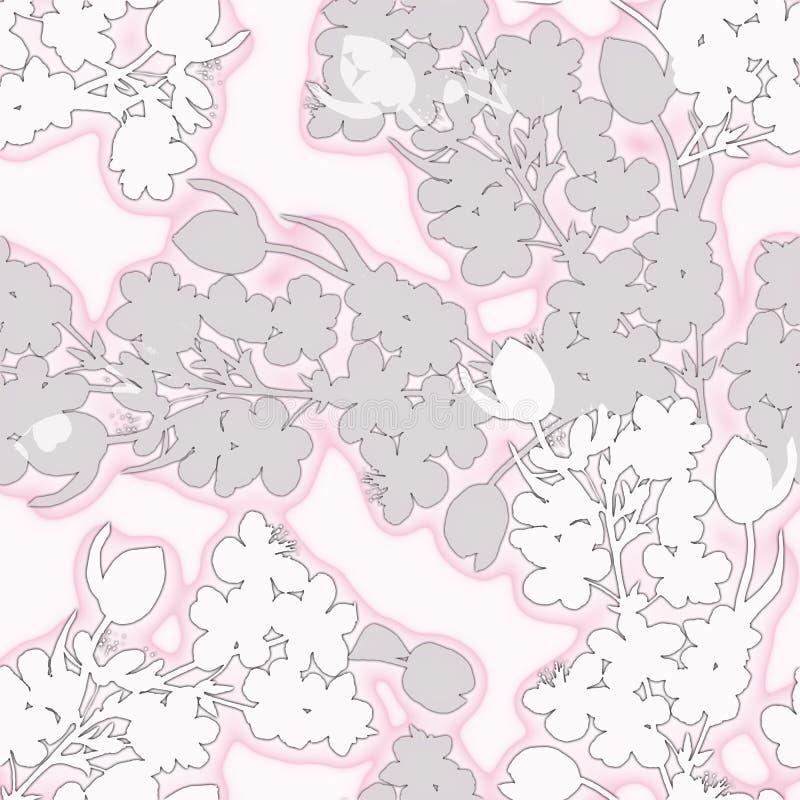 Den dekorativa buketten blommar tulpan med körsbäret seamless modell Vit version royaltyfri illustrationer